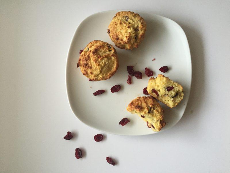 gluten-free orange cranberry muffins on plate